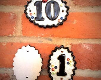 Ceramic House Number Plaque - 20 + , and 1a-1b ......frostproof