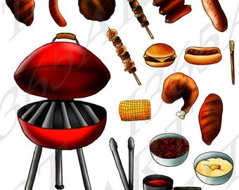 50% OFF bbq Clipart, bbq Clip art, Party clipart, Invitations, 4th of July, Barbecue clipart, Hot Dog, Hamburger, Sis Kabob, Grill, Ribs, PN