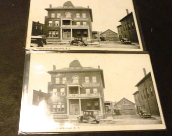 2 real photo post cards - Arnold House, Oakfield N.Y. - one used 1938 postmark -1 cent stamp