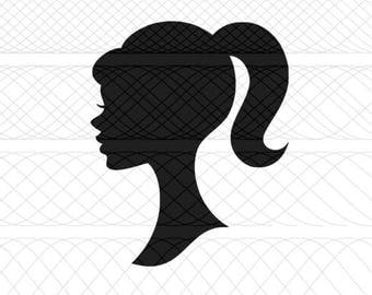 Barbie Head Silhouette SVG & PNG Cut File for Silhouette Cameo/Portrait and Cricut Explore DIY Craft Cutters