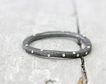 Silver Ring stack ring dots, blackened, Matt brushed, collection ring, 2 mm, 925 sterling silver, organic shape, dots, dots
