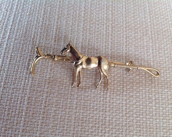 Vintage Brooch - Riding crop and horse