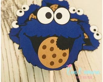 Cookie Monster cupcake toppers, sesame street cupcake toppers