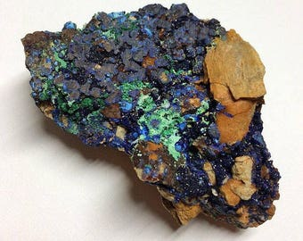 Azurite Malachite Blue Green Druzy Fibrous Minerals Matrix Rocks and Minerals Mineral Specimen Healing Crystals Raw Morocco