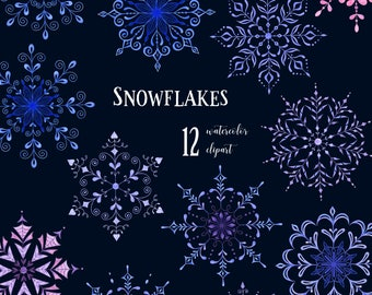 12 Hand painted Decorative Watercolor Snowflakes, clipart, christmas, holiday, card, invitation, snow, winter, png, cute art