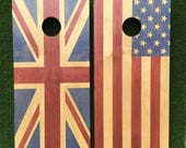 Cornhole Game by ColoradoJoes Union Jack and American Flag