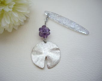 Lotus leaf obikazari, Silver obikazari, Kimono accessory, Amethyst beads ball, Obi charm, Japanese gift idea, Lotus key chain, Key ring