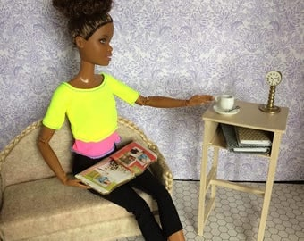 Upcycled Doll Furniture  - Side / Magazine/ Lamp Table for Diorama / Display