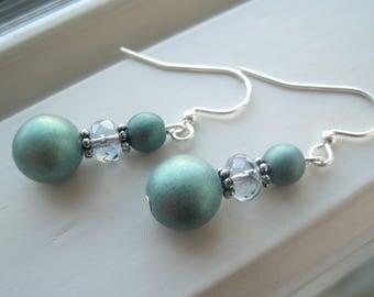 Metallic Earrings - Shimmer Earrings - Czech Glass Earrings - Satin Druk Earrings - Green Jewelry - Green Dangle Earrings