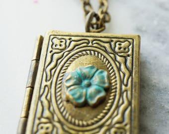 Book flower locket Necklace