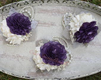 Fall Wedding Corsage Mother of the Bride Corsage Mother of the Groom Corsage Plum Corsage Sola Fall Corsage Rustic Corsage Pearl Corsage