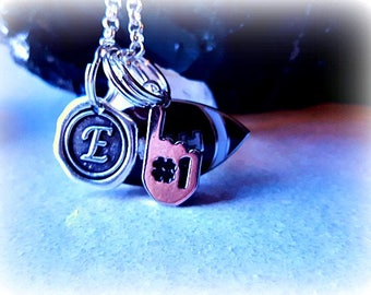 Football Necklace,Personalized wax Seal Initial,Were #1 Charm,Football Fan,Football Lover,Sports Necklace,Monogram Football Necklace