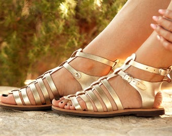 LAMPIDO of SPARTA! Spartan gold sandals Leather Greek Sandals with straps for boho creations, handmade sandals