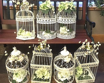 Vintage Decorative Wire Birdcages, Tall Domed Birdcages Rustic Shabby Chic, Wedding Cottage Chic Large Ornate Bird Cages Different Shapes