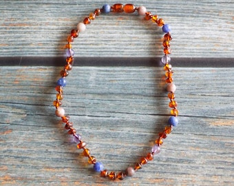 12.75 Inch Catch Some Zzzzzzzs, Deep Sleep Support Baltic Amber and Gemstone Knotted Necklace