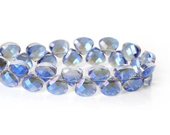 Faceted Blue Crystal AB Teardrops - 10x9MM