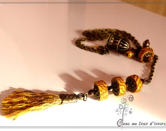 textile necklace mustard yellow and Brown
