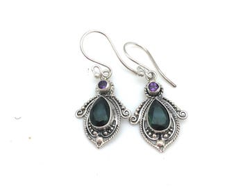 Sterling Silver with Amethyst and Green Quartz Dangle Earrings