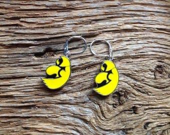 Iowa Hawkeyes earrings: Black and yellow hawk earrings, Iowa jewelry, hawkeyes jewelry, upcycled earrings
