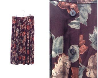 90's Midi Button Front Skirt - Floral