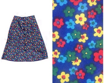 70s Flower Power Skirt Button Down Patch Pockets Small