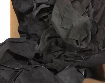 Lot of leather scraps black lamb suede hide skin - 1 Lb