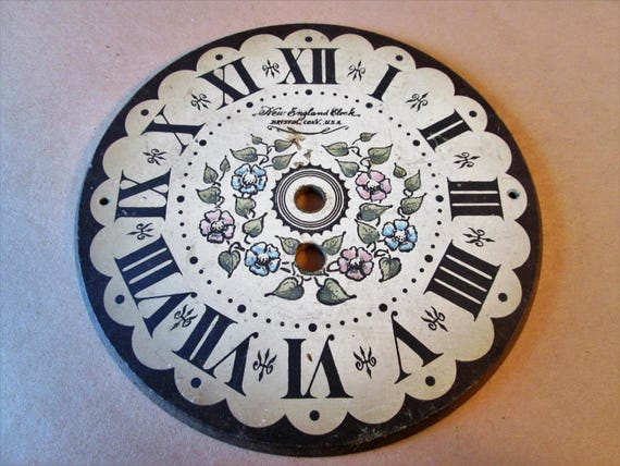 "Vintage 7"" Pressed Wood New England Clock Co. Floral Design Clock Dial for your Clock Procents & Etc..."