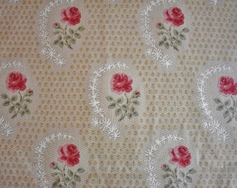 3 Yards Antique Rose Fabric, Robert Metzger Interiors for Braemore Red Rose Fabric, Red Green Yellow Gray White Cotton Designer Fabric