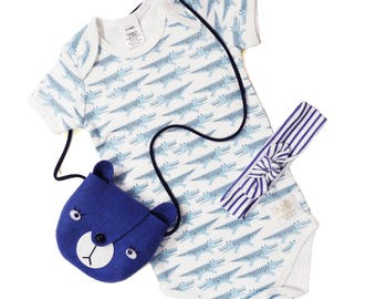 sale/Organic blue crocodile bodysuit, Short Sleeve onesie, organic onesie, cute baby shower gift and handmade in USA