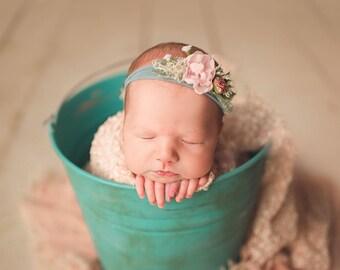 Newborn Photo Prop   Newborn Photography Bucket, Metal Bucket Photography Prop, Distressed Bucket Only
