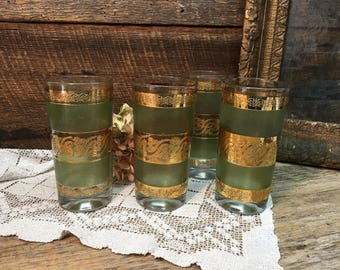 Vintage Culver High Ball Glasses/Green Gold/Starlyte/Mid Century