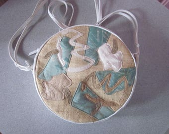 KOOS Round White Leather Shoulder Bag with Applique from the 1980s
