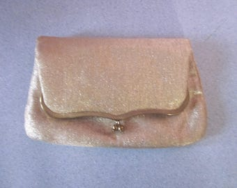 "1960s Metallic Gold Fabric Fold-Over Clutch Pocketbook by ""MM"""