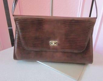 1960s Brown Reptile-Embossed Vinyl Handbag