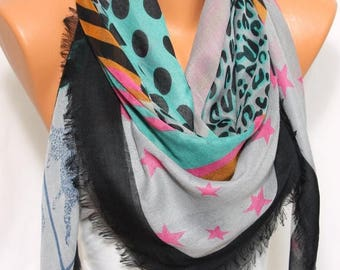 Gray Star Leopard Polka Dot Stripped Printed Scarf So Soft Light Weight Square Scarf Women's Fashion Accessory  Gift Ideas For Her Mom