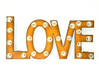 Love Marquee Rusted Metal Vintage Inspired Lighted Sign (Large Size)