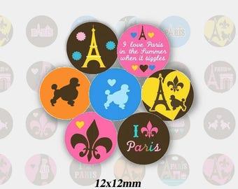 (TR0011 - 12mm) Images, digital cabochons Eiffel Tower / Paris / dog poodle round 12 mm