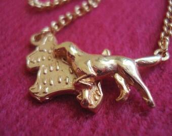Girl's Child Dog Necklace Vintage Gold Unique Detailed SWEET! #123