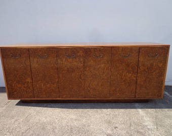 Buffet Burl Wood Cabinet Console Entry Table Milo Baughman Thayer Coggin  Inspired MCM Mid Century Modern