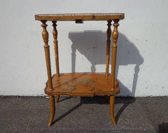 Tole Accent Table Country French Provincial End Side Painted TV Stand Entry Way Console Storage Nightstand Bedside Shabby Chic Florentine