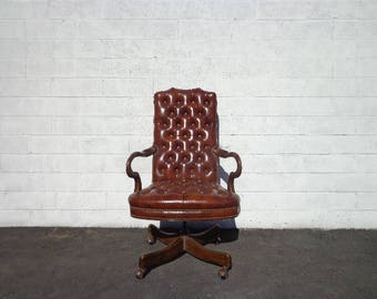 Traditional Office Chair Chesterfield Leather Armchair Task Tufted Wood Mid Century Modern MCM Vintage Casters Seating Antique Classic