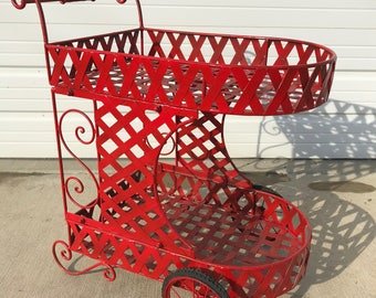 Tea Cart Patio Set Bar Party Decor Outdoor Pool Furniture Lounge Mid Century Modern Wrought Balcony Garden Antique Planter Red Shabby Chic
