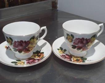 Pair of Large Royal Grafton Bone China Roses Cups and Saucers