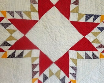 Quilt Old  Feather Star Fab Quilting 8spi