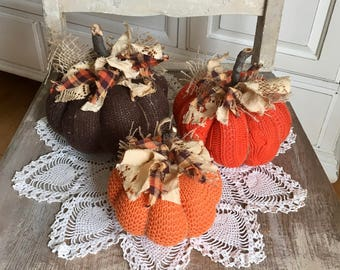 Sweater Pumpkins Set of 3 Fabric Pumpkins Brown Orange Light Orange