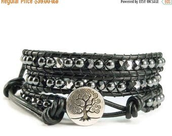 SALE Leather Wrap Bracelet, Beaded Wrap Bracelet, Hematite Gemstones, Tree of Life, Black Beaded Bracelet