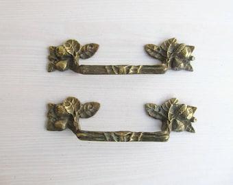 ORIGINAL Ornate Bronze Drawer Handles, Antique Drawer Pulls, Salvaged Hardware, Vintage Dresser Hardware, Set of 2