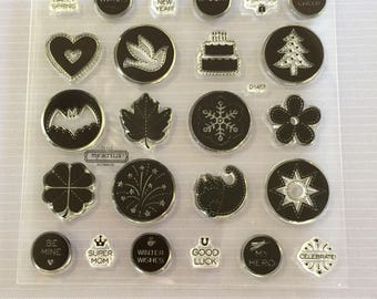 Close to my heart, My acrylix stamp set, Jubilation, NEW, in plastic case, holidays, events, stamping, scrapbooking, paper crafts