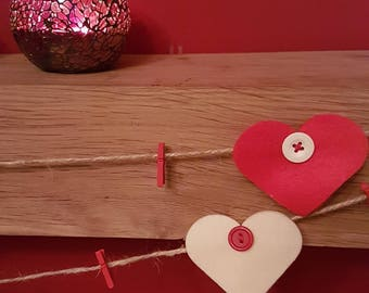 Hanging Felt Heart and button Christmas Card Holder, 100% hand made and sewn.