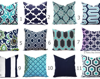 Outdoor Pillows or Indoor  Custom Cover - Shades of Blue Navy Aqua Turquoise Ocean White Contemporary Modern Geometric 18x18, 16x16